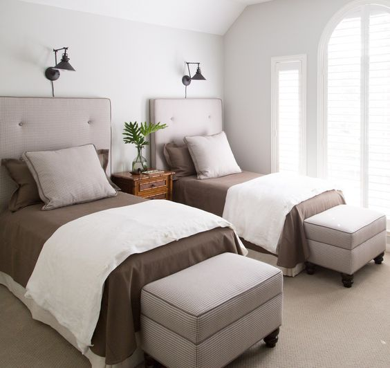 My upstairs guest room redo  Click through for more images and info  Photo  by. Small guest room with two twin beds      Pinteres