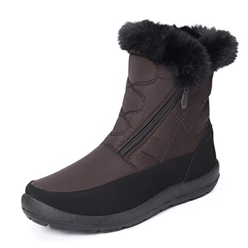 gracosy Snow Boots for Women Warm Ankle Boots Waterproof Outdoor Slip On Fur Lined Winter Short Booties Anti-Slip Comfort Zipper Large Size Shoes