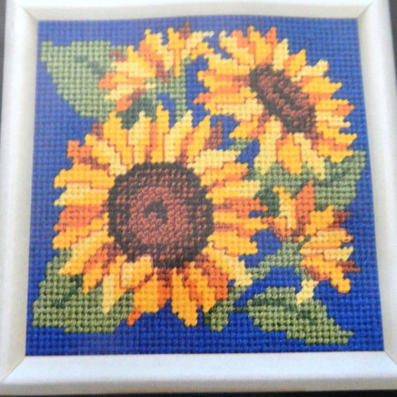 Dimensions 7147 Sunny Sunflowers stamped by SpareTimeSupplies