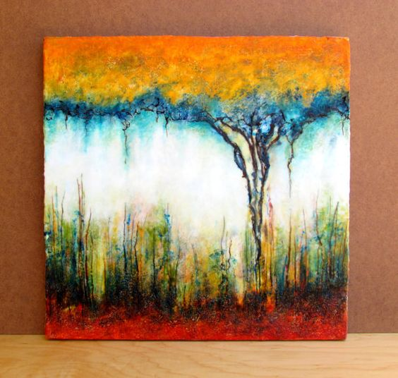Original encaustic abstract painting large textured for Nice acrylic paintings