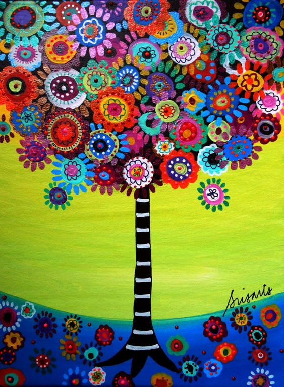 Mexican Folk Art Tree of Life Bar Bat Mitzvah Painting by prisarts, $20.00: