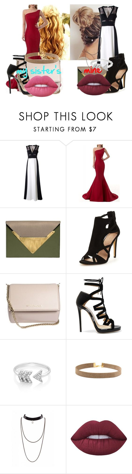 """mine and my sister's style prom outfits"" by lozzydutton01 ❤ liked on Polyvore featuring BCBGMAXAZRIA, Dareen Hakim, Givenchy, Jimmy Choo, EF Collection and Lime Crime"