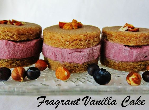 Raw Hazelnut Butter Cookie Ice Cream Sandwiches with Blueberry Rhubarb Ice Cream from Fragrant Vanilla Cake