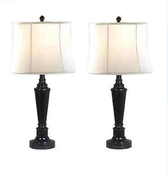 "Table Lamps Set of 2 Lighting Transitional 25"" New Living Room Bronze Finish"