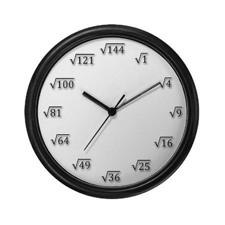 Square Root Clock- My students are always complaining that I do not have a clock. Here is the one I should get!!!