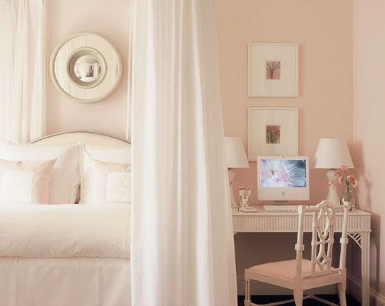 White Dogwood pink paint color by Sherwin Williams. This pink feminine bedroom designed by Phoebe Howard is inspiring us today! Come see the Best Sophisticated, Chic and Subtle Pink Paint Colors on Hello Lovely Studio!