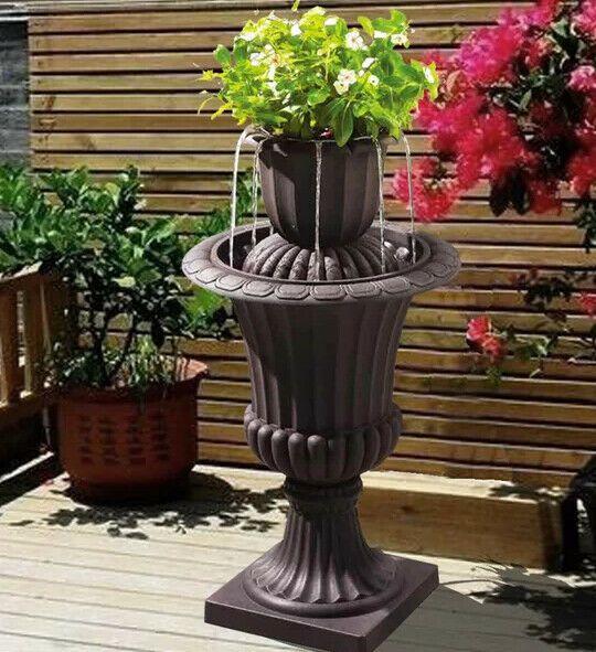 Cascade Fountain Tiered Flower Pot 2 Tier Outdoor Indoor 28 Inch Tall Waterfall Cascadefountain Flower Pots Fountain Fountains Outdoor