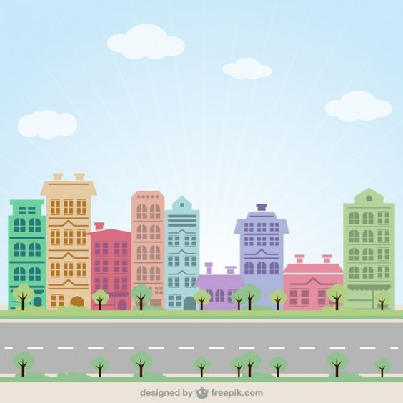 Colorful Street Free Vector