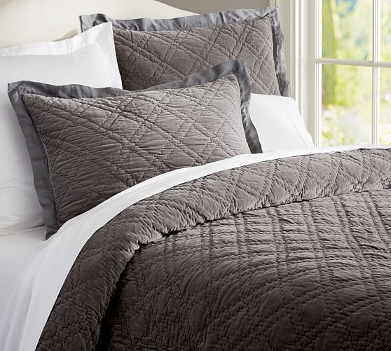 Gray Velvet Coverlet : Washed velvet silk quilt sham pottery barn bed