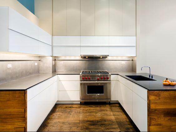 New York based RAAD interesting u-shaped kitchen layout