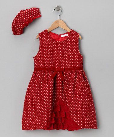 {Red Heart Ruffle Dress & Beret - Girls by Butterflies & Moonbeams} A beret??!?!? How cute is that?