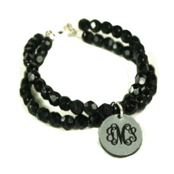 """In the art world, a round work of art is know as Tondo. Display your #monogram as a round work of art with a Tondo Monogram pendant on our Sparkle beaded bracelet. Available in 7"""" or 8"""". 3/4"""" pendant.  Tondo pendant available in Black, Brown, Bubblegum Pink, Copper, Frosted, Gold, Grass Green, Lt. Blue, Orange, Red, Royal, Silver, White, and Yellow acrylic.    The engraved monogram can be filled with Aqua, Baby Blue, Black, Brown, Hot Pink, Light Pink, Lime Green, Orange, Purple, Red,  $39"""