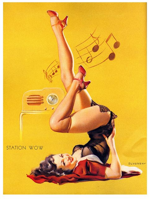 Keep your vintage sets tuned to Station Wow. #pinup #girl #vintage #1940s #art #Gil_Elvgren
