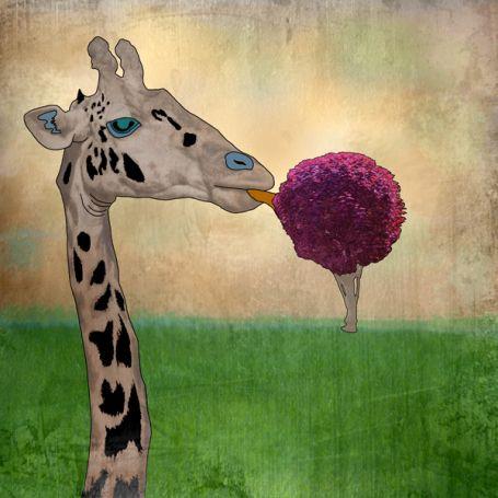 JenniferBroussard,com Giraffe With Icecream Tree
