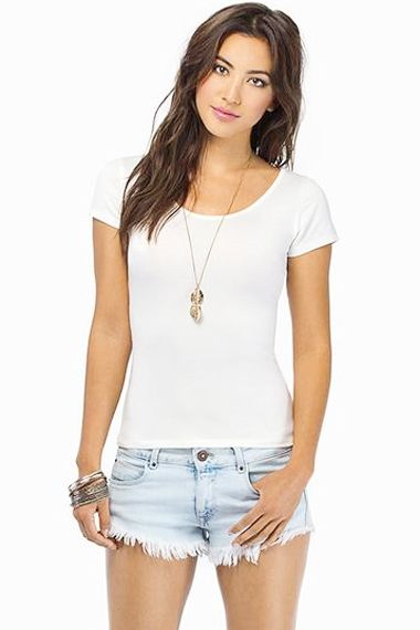 Back Hollow-out Lace Splicing Short Sleeves Casual T-shirt