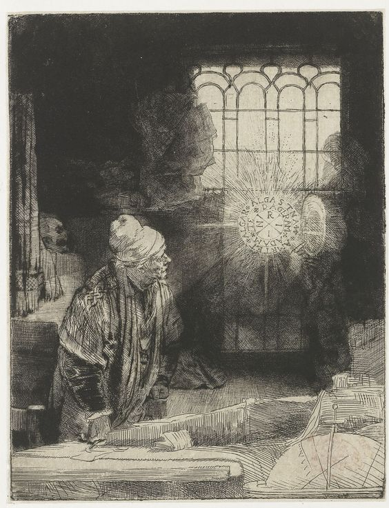 Faust (or A Scholar in his Study) - Rembrandt van Rijn.  1650-54.  Etching, drypoint, and burin on paper.  21 x 16.1 cm.  Rijksmuseum, Amsterdam, Netherlands.