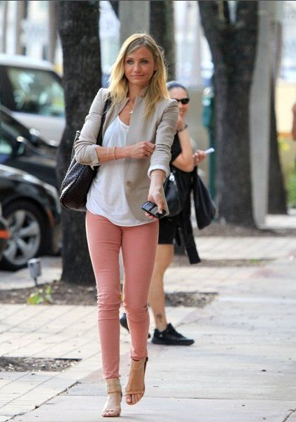 Peach jeans + neutral jacket