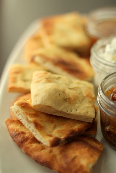 Two recipes: Olive oil dough + rosemary flatbread with goat cheese, caramelized onions and lavender honey