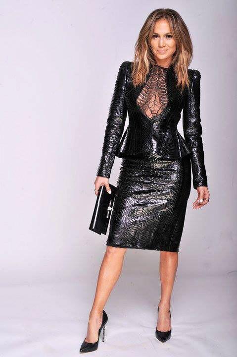 Jennifer Lopez In Stylish Gucci Black Leather Peplum Top