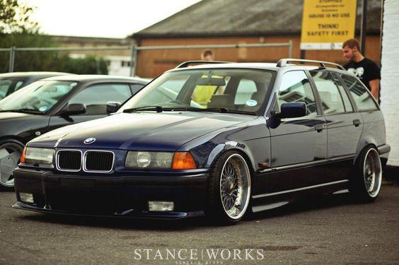 Dark blue e36 touring on allways good OEM BMW BBS RC
