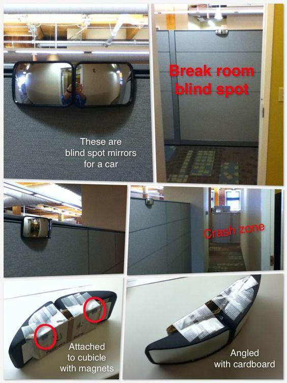 My DIY office blind spot mirror