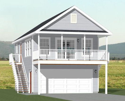 16x26 house w loft 16x26h4 722 sq ft excellent for Small house plans with garage