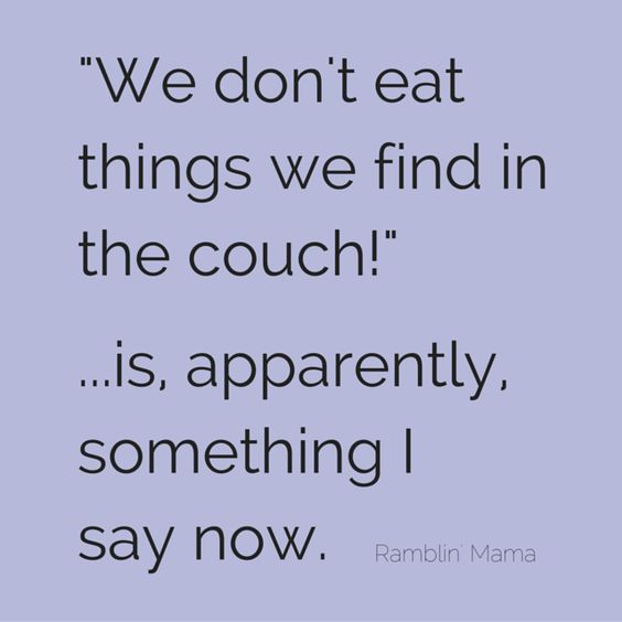 """We don't eat things we find in the couch!"" ...is, apparently, something I say now.  You live and you learn! Funny parenting memes give us life!"