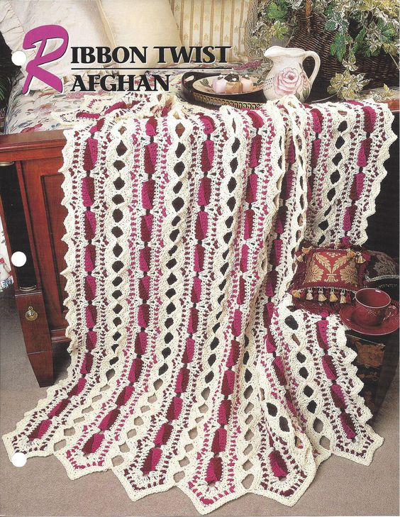 Ribbon Twist Afghan Annie's Crochet Quilt by KnitKnacksCreations