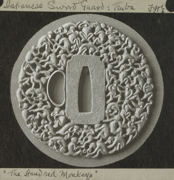 "Frederick H. Evans photography - Japanese Sword Guard: Tsuba. ""The Hundred Monkeys."", 1883 - 1899, Lantern slide"