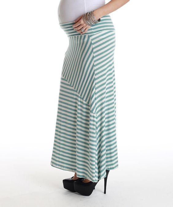 Baby blue amp white stripe maternity maxi skirt maternity maxi skirts