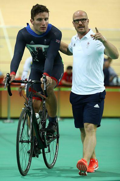 Callum Skinner of Great Britain talks with Jan van Eijden on Day 7 of the Rio…
