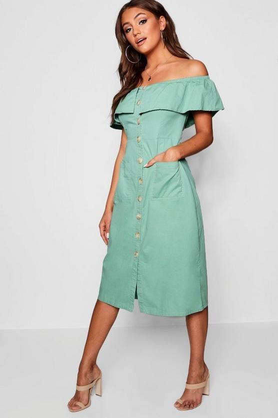 25+ Boohoo denim off the shoulder dress ideas in 2021