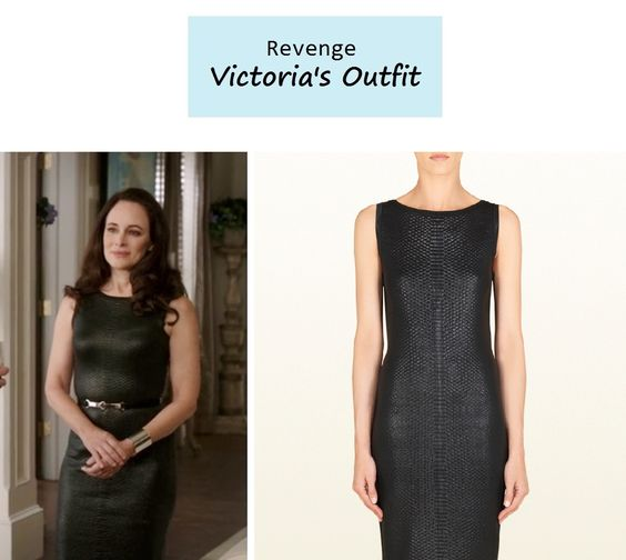 On The Blog Victoria Grayson 39 S Madeleine Stowe Black Python Effect Dress Revenge