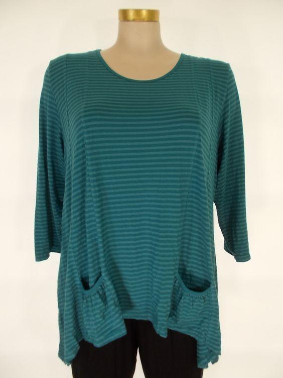 Heartstring - Turquoise 3/4 Sleeve 2 Pocket Tunic