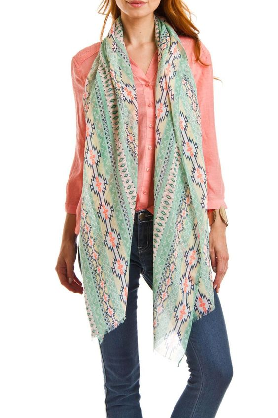 Before you juggle your warm weather wardrobe try diversifying your present pieces with summer scarves. Just one quirky tied scarf can make trending outfit look and feel brand new!  Size: 72'' x 47''  Sea Green Scarf by Violet Del Mar. Accessories - Scarves & Wraps San Diego California