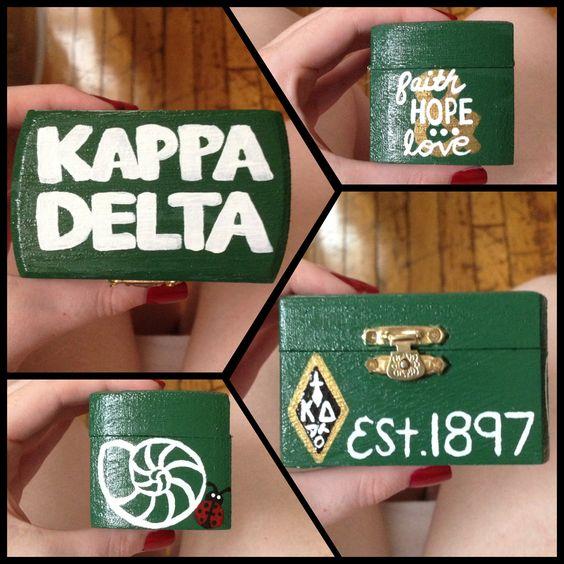 Kappa Delta pin box. Use $1 trinket box from Michaels.