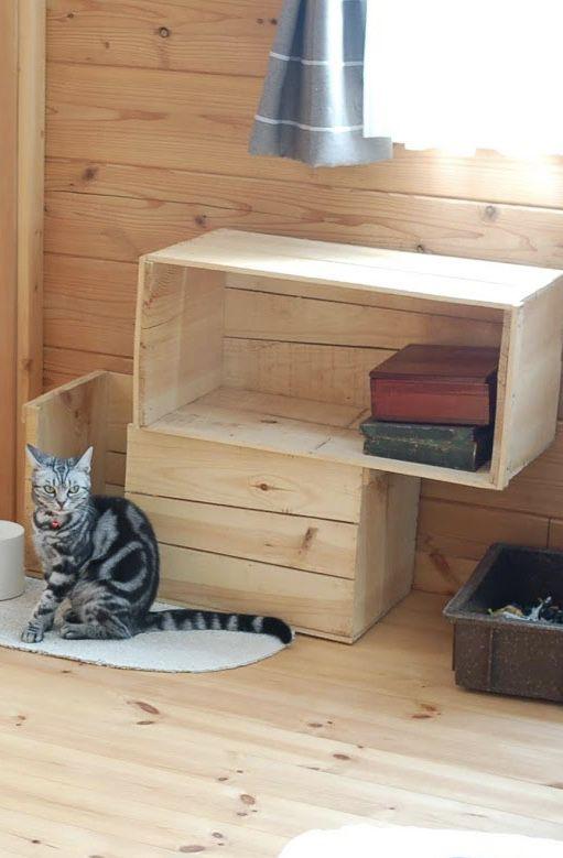 猫トイレのカバーはコレ ペットトイレもインテリアに合わせて インテリア ペットと暮らすインテリア リンゴ箱