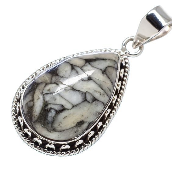 "Pinolith Jasper 925 Sterling Silver Pendant 1 3/4"" PD555428"