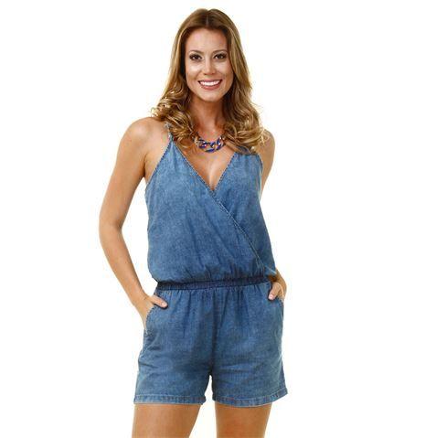 Macaquinho feminino em jeans