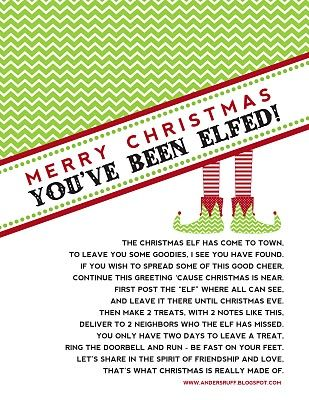 """""""You've Been Elfed!"""" printable."""