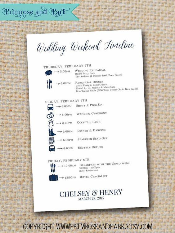 Wedding Itineraries Printable PDF // Wedding Weekend Timeline // Great for Welcome Bags