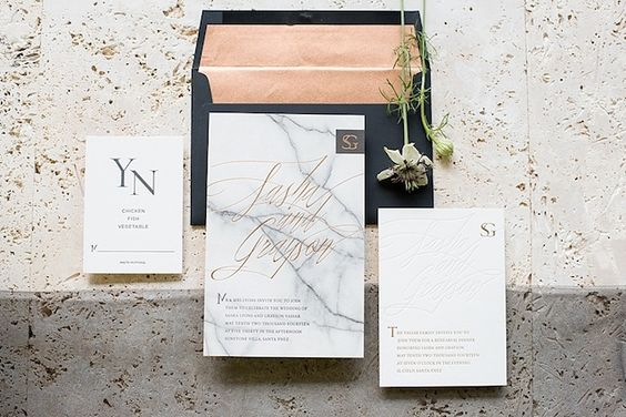Marble wedding invitations by Bliss & Bones, styling by Moana Events and photographed by Mikkel Paige