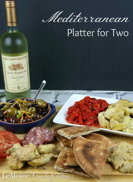 Mediterranean Platter for Two   LeMoine Family Kitchen. Grab a bottle of wine and enjoy an array of olives, hummus, artichoke hearts, soppresata, roasted peppers and pita.