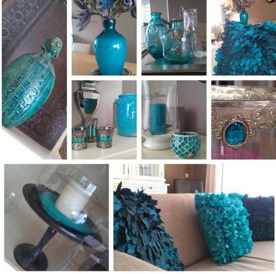 Blauwe accessoires woonkamer