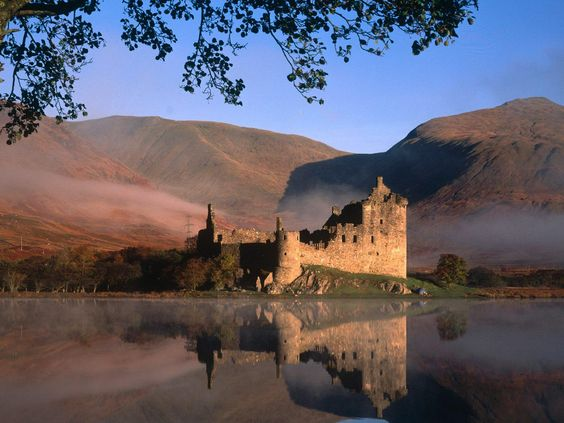 The ruins of the 15th Century Kilchurn Castle lie on the NE shore of Loch Awe in Scotland.