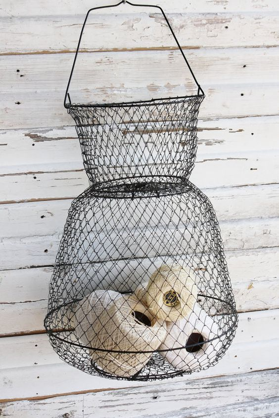 Vintage Wire Basket by TheFarmhousePorch on Etsy