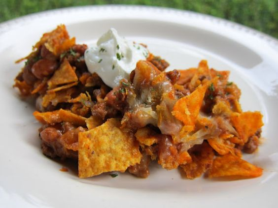 Taco Casserole--made this last night without the chips. put it over a bed of lettuce with chips on the side...instantly delicious taco salad!