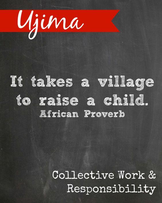Kwanzaa printable. Ujima means Collective Work & Responsibility.