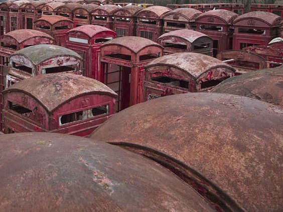 Phone box graveyard , Carlton Miniott. | 14 Beautiful And Haunting Abandoned British Places