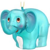 Blue Elephant Glass Ornament  border=